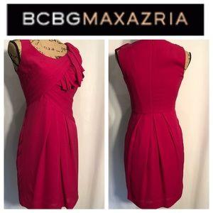 BCBGMaxAzria Silk Fuchsia Cocktail Dress LIKE NEW